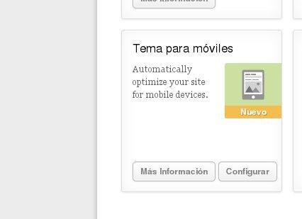 Jetpack despues de activar los temas para móviles